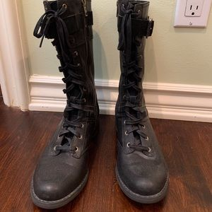NWOT Timberland dark leather zipper combat boots